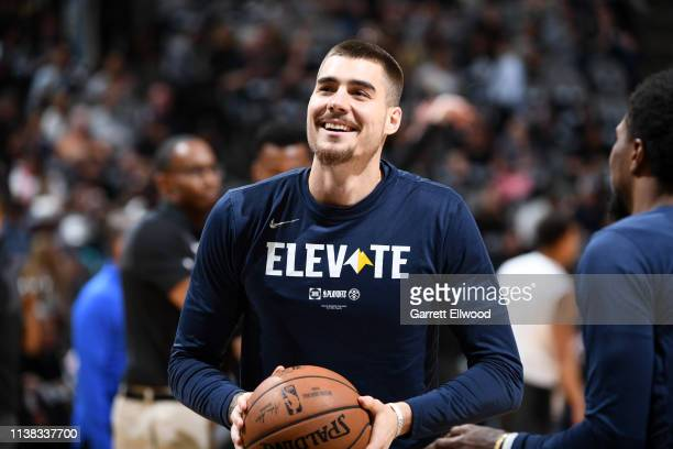 Juan Hernangomez of the Denver Nuggets warms up before Game Four of Round One against the San Antonio Spurs during the 2019 NBA Playoffs on April 20...
