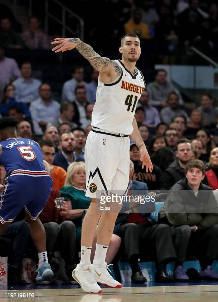 Juan Hernangomez of the Denver Nuggets watches his shot in the first half against the New York Knicks at Madison Square Garden on December 05 2019 in...