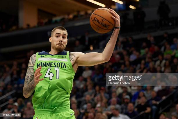 Juan Hernangomez of the Minnesota Timberwolves catches the ball against the Los Angeles Clippers during the second half of the game at Target Center...