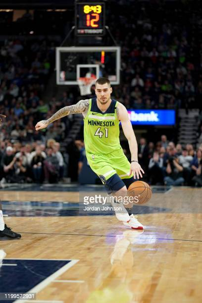 Juan Hernangomez of the Minnesota Timberwolves handles the ball during a game against the LA Clippers on February 8 2020 at Target Center in...