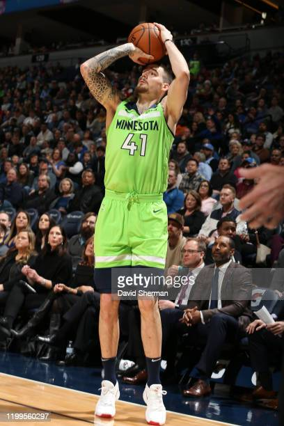 Juan Hernangomez of the Minnesota Timberwolves shoots the ball against the LA Clippers on February 8 2020 at Target Center in Minneapolis Minnesota...