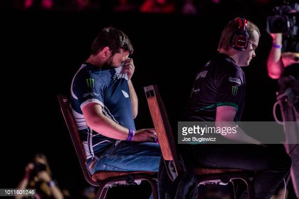 Juan 'Hungrybox' DeBiedma plays Adam 'Armada' Lindgren during the Super Smash Bros Melee finals at the Mandalay Bay Events Center on August 5 2018 in...