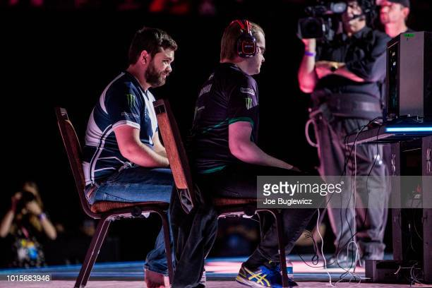 Juan 'Hungrybox' Debiedma plays Adam 'Armada' Lindgren in the Super Mario Brothers Melee finals during EVO 2018 at the Mandalay Bay Convention Center...