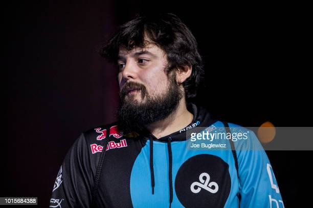 Juan 'Hungrybox' Debiedma takes the stage after the Super Mario Brothers Melee finals during EVO 2018 at the Mandalay Bay Convention Center on August...