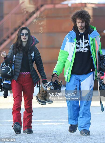 Juan Ibanez and Nerea Barros are seen on January 03 2015 in Baqueira Beret Spain