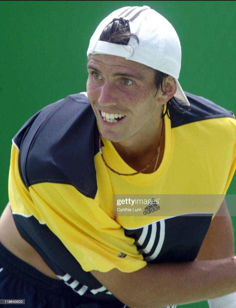 Juan Ignacio Chela of Argentina during his 2005 Australian Open second round match vs Gregory Carraz of France at Melbourne Park. Chela won 7-6, 6-2, 7-6