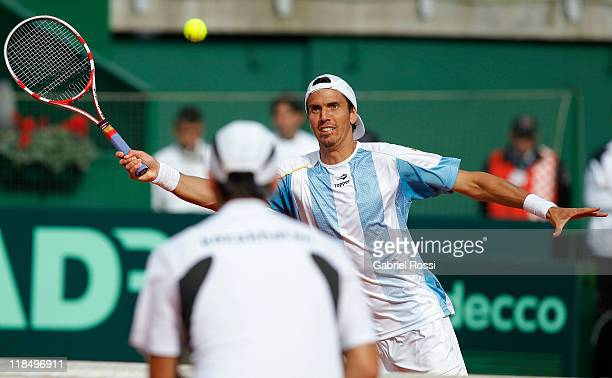Juan Ignacio Chela of Argentine in action during the match between Argentina and Kazakhstan for second day in the quarters final of the Copa Davis at...