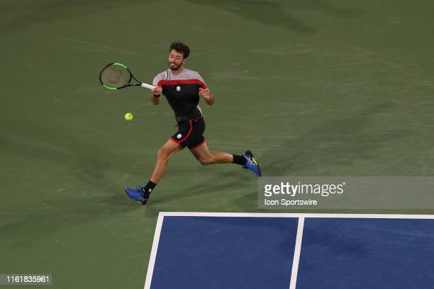 Juan Ignacio Londero hits a forehand during the Western Southern Open at Lindner Family Tennis Center on August 13th 2019 in Mason Ohio