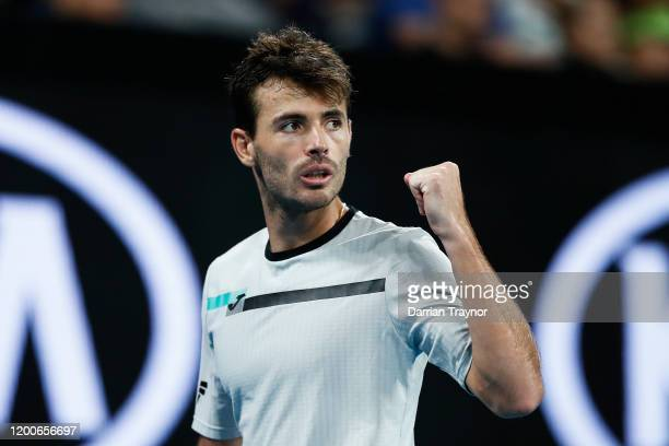 Juan Ignacio Londero of Argentina celebrates a point during his Men's Singles first round match against Grigor Dimitrov of Bulgaria on day one of the...
