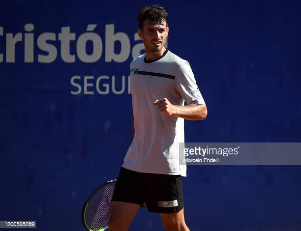 Juan Ignacio Londero of Argentina celebrates after winning a match against Laslo Djere of Serbia during day 4 of ATP Buenos Aires Argentina Open at...