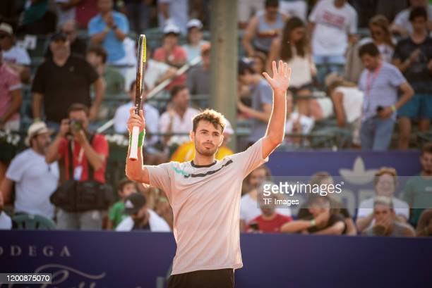 Juan Ignacio Londero of Argentina celebrates during day 5 of ATP Buenos Aires Argentina Open at Buenos Aires Lawn Tennis Club on February 14, 2020 in...