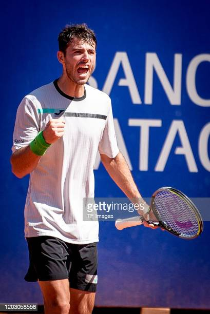 Juan Ignacio Londero of Argentina celebrates during day 6 of ATP Buenos Aires Argentina Open at Buenos Aires Lawn Tennis Club on February 15, 2020 in...