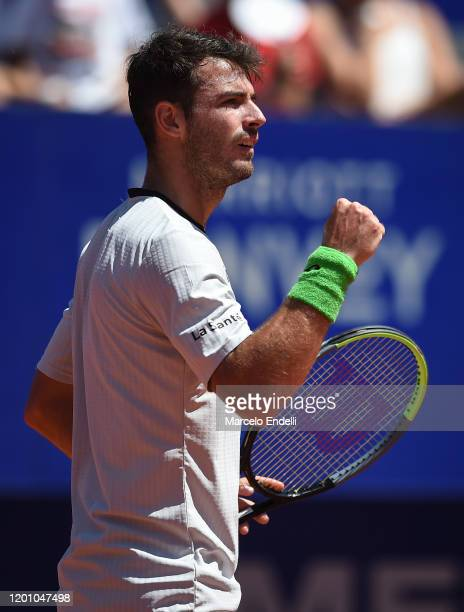 Juan Ignacio Londero of Argentina celebrates during his Men's Singles match against Casper Ruud of Norway with a part of first semifinal during day 6...