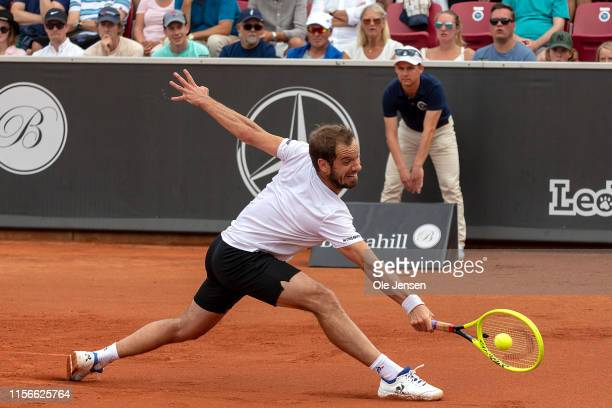 Juan Ignacio Londero of Argentina competes during his match against Richard Gasquet of France during the FTA singles tournament at the 2019 Swedish...