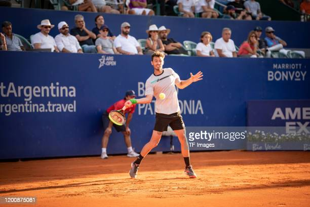 Juan Ignacio Londero of Argentina controls the ball during day 5 of ATP Buenos Aires Argentina Open at Buenos Aires Lawn Tennis Club on February 14,...