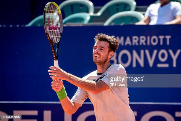 Juan Ignacio Londero of Argentina controls the ball during day 6 of ATP Buenos Aires Argentina Open at Buenos Aires Lawn Tennis Club on February 15,...