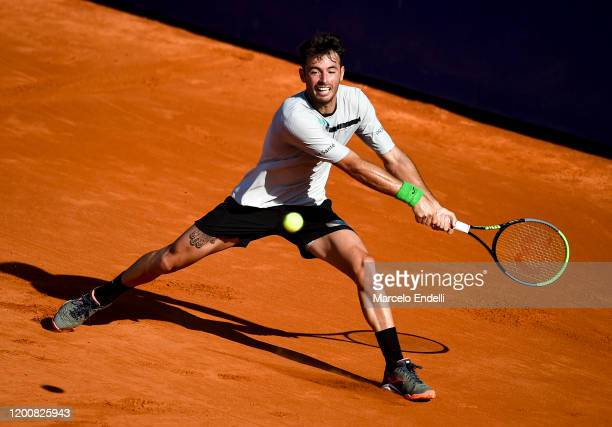 Juan Ignacio Londero of Argentina hits a backhand during his Men's Singles match against Guido Pella of Argentina during day 5 of ATP Buenos Aires...