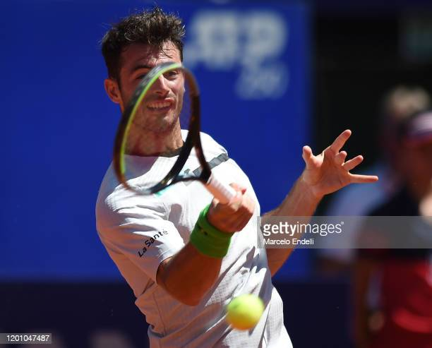 Juan Ignacio Londero of Argentina hits a forehand during his Men's Singles match against Casper Ruud of Norway with a part of first semifinal during...