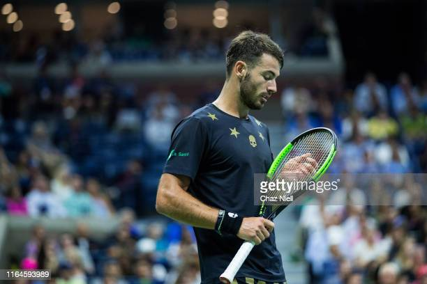 Juan Ignacio Londero of Argentina reacts during his Men's Singles second round match Novak Djokovic of Serbia on day three of the 2019 US Open at...