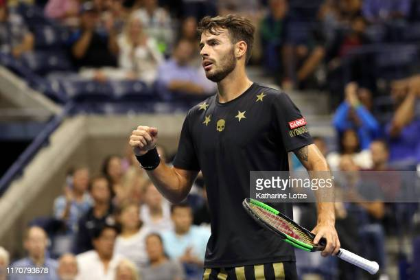 Juan Ignacio Londero of Argentina reacts during his Men's Singles second round match against Novak Djokovic of Serbia on day three of the 2019 US...