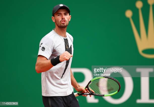 Juan Ignacio Londero of Argentina shows his emotion against Felix AugerAliassime of Canada in their first round match during day 3 of the Rolex...