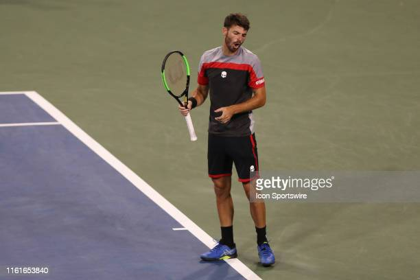 Juan Ignacio Londero reacts during the Western Southern Open at Lindner Family Tennis Center on August 13th 2019 in Mason Ohio