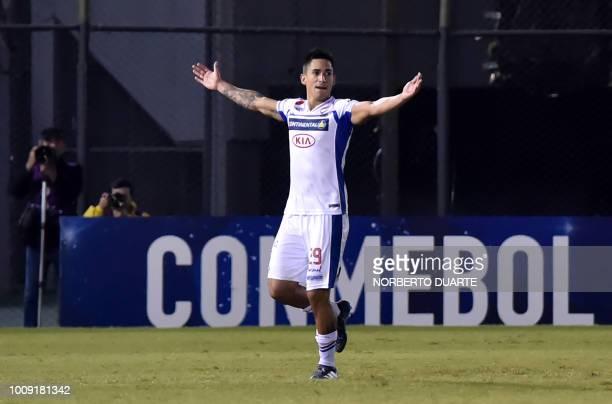 Juan Ignacio Vieyra of Paraguays Nacional celebrates his goal against Brazil's Botafogo during a 2018 Copa Sudamericana football match at Defensores...