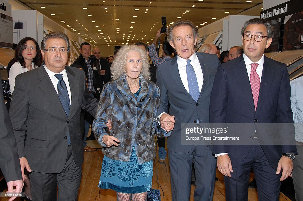 Juan Ignacio Zoido Duchess of Alba Cayetana Fitz-James Stuart and Duke of Alba Alfonso Diez attend the Porcelanosa new store opening on December 20, 2012 in Seville, Spain.