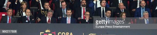 Juan Ignacio Zoido Inigo Mendez de Vigo King Felipe VI Josep Maria Bartomeu Maria Dolores de Cospedal and Enrique Cerezo are seen at the Spanish Copa...