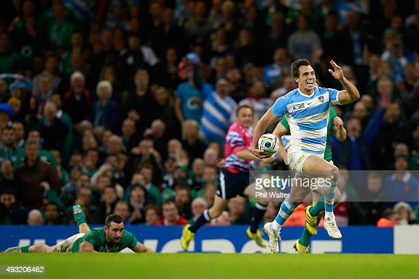 Juan Imhoff of Argentina celebrates as he runs to try line to score his team's fourth try during the 2015 Rugby World Cup Quarter Final match between...