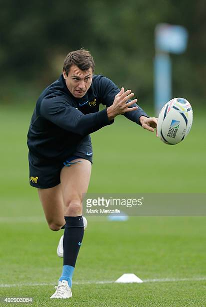 Juan Imhoff of Argentina passes during a Argentina training session at the Vale Hotel on October 16 2015 in Pontyclun Wales