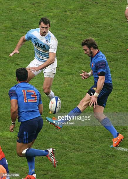 Juan Imhoff of Argentina Pumas and Maxime Medard of France during the international rugby test match between France and Argentina Pumas at Stade de...