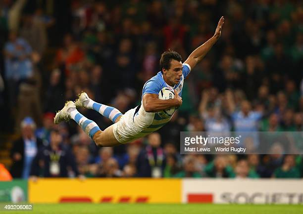 Juan Imhoff of Argentina scores his team's fourth try during the 2015 Rugby World Cup Quarter Final match between Ireland and Argentina at the...