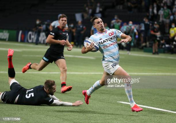 Juan Imhoff of Racing 92 scores the winning try during the Heineken Champions Cup Semi Final match between Racing 92 and Saracens at Paris La Defense...