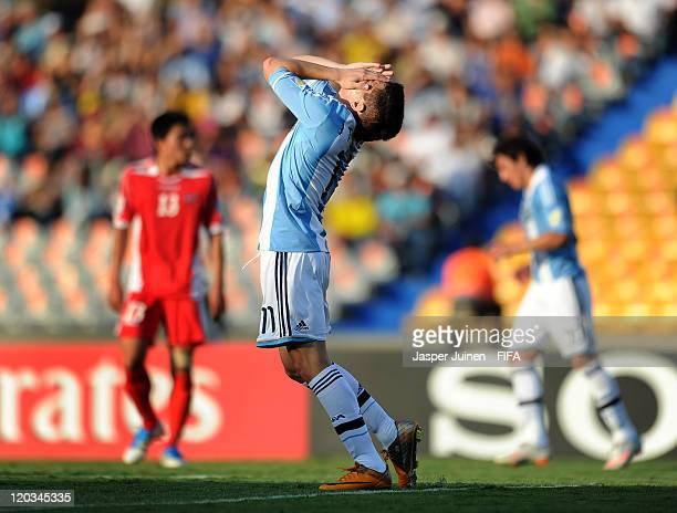 Juan Iturbe of Argentina reacts during the FIFA U20 World Cup Colombia 2011 group F match between Argentina and Korea DPR at the Atanasio Girardot...