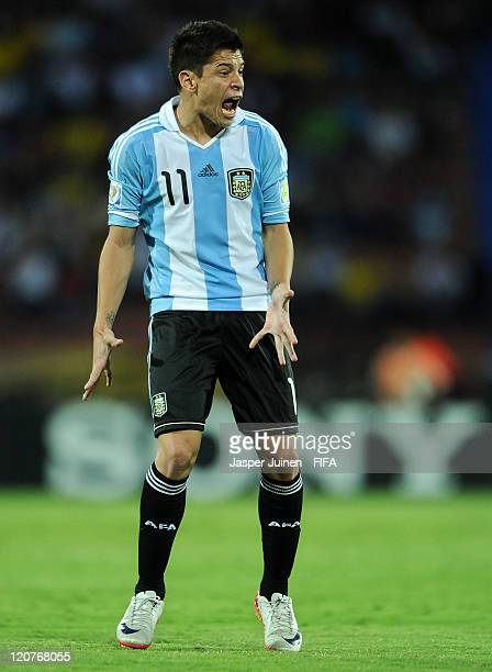 Juan Iturbe of Argentina reacts during the FIFA U20 World Cup Colombia 2011 round of 16 match between Argentina and Egypt at the Atanasio Girardot...