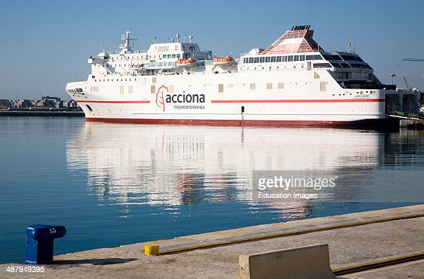 Juan J Sister Acciona Trasmediterranea shipping line RoRo ferry ship moored in the port at Malaga Spain