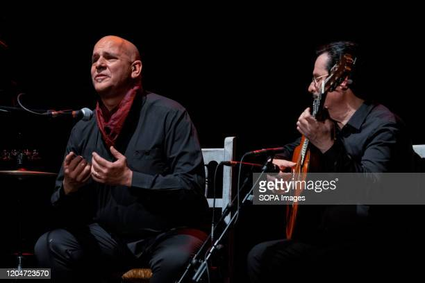 Juan Jesús Rodríguez and Julio Vallejo perform during the Spanish flamenco guitar concert at the Enrique Tierno Galván Theater in Leganés.