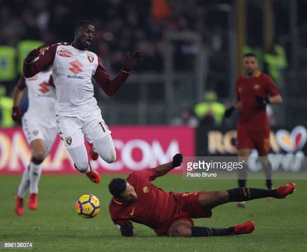 Juan Jesus of AS Roma competes for the ball with M'Baye Niang of Torino FC during the TIM Cup match between AS Roma and Torino FC at Olimpico Stadium...