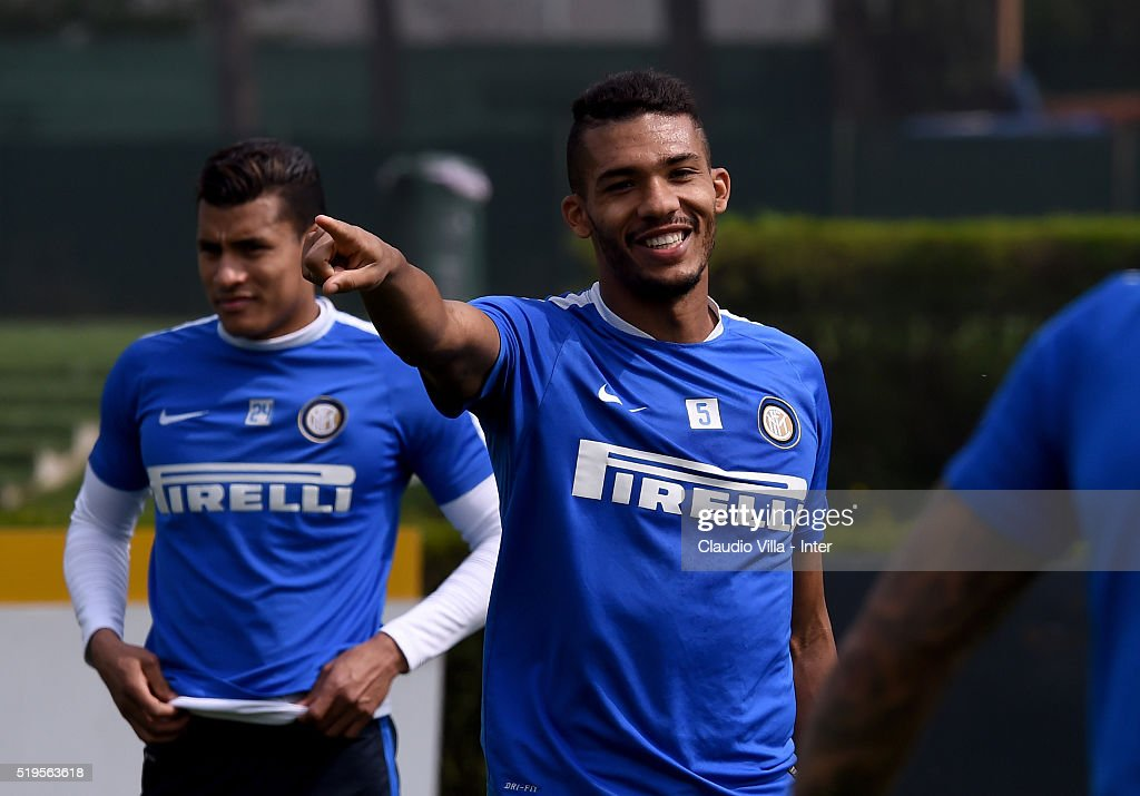 Juan Jesus reacts during the FC Internazionale training session at the club's training ground at Appiano Gentile on April 7, 2016 in Como, Italy.