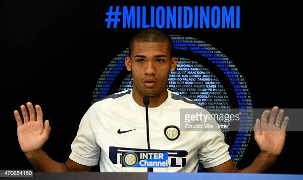 Juan Jesus speaks to the media during an FC Internazionale Press Conference at Appiano Gentile on April 22 2015 in Como Italy