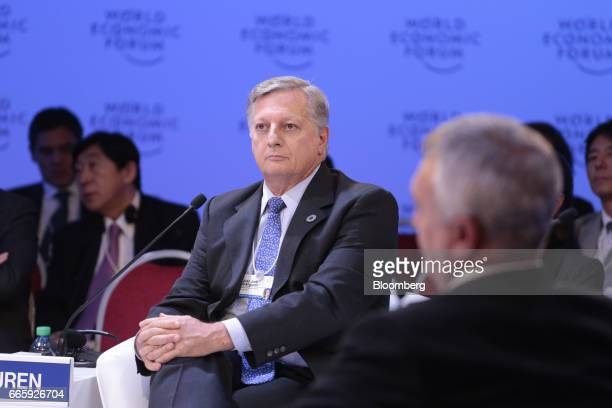 Juan Jose Aranguren Argentina's minister of energy and mining listens during the World Economic Forum on Latin America in Buenos Aires Argentina on...