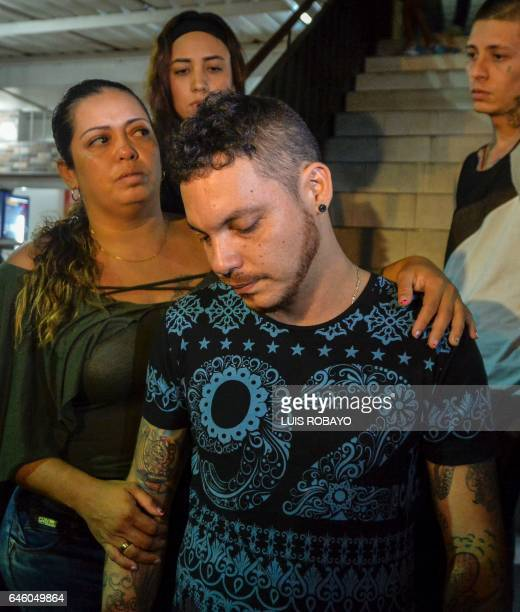 Juan Jose Herrera the son of Ismael Enrique Arciniegas who was arrested in China for drug trafficking accompanied by family and friends reacts after...
