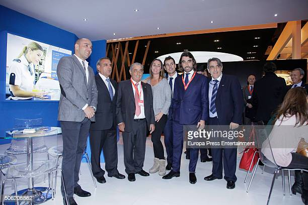 Juan Jose Hidalgo Cristina Hidalgo and Javier Hidalgo attend Air Europe stand during FITUR International Tourism Fair at Ifema on January 21 2016 in...