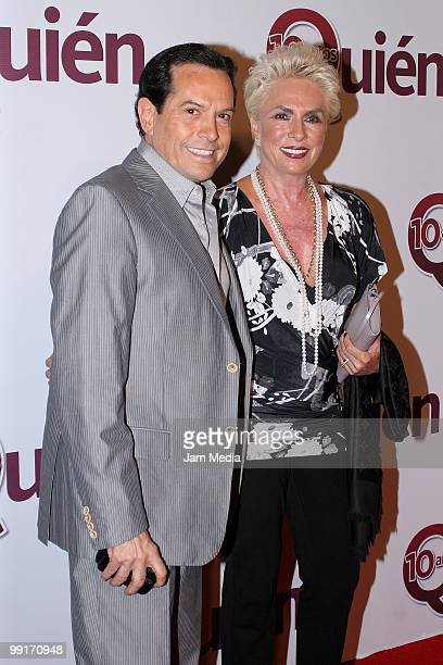 Juan Jose Origel and Janni Diener pose for a photo during the red carpet of the 10th Anniversary of Quien magazine at Academy of San Carlos on May 12...