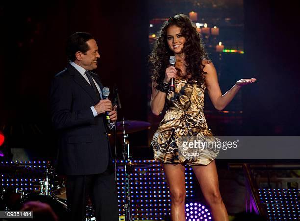 Juan Jose Origel and Ximena Navarrete in the Noche de Nominados de los Premios TV y Novelas show in the club Reina of Mexico City on February 21 2011...