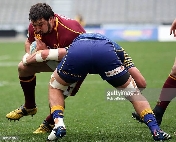 Juan Koen of Southland on the charge during the round seven ITM Cup match between Otago and Southland at Forsyth Barr Stadium on September 28 2013 in...