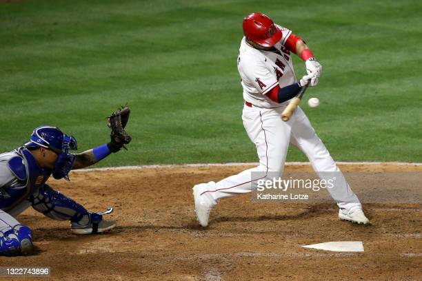 Juan Lagares of the Los Angeles Angels swings for a hit a during a game against the Kansas City Royals at Angel Stadium of Anaheim on June 08, 2021...