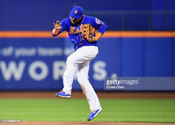 Juan Lagares of the New York Mets celebrates their 42 win over the Atlanta Braves at Citi Field on September 27 2019 in the Flushing neighborhood of...