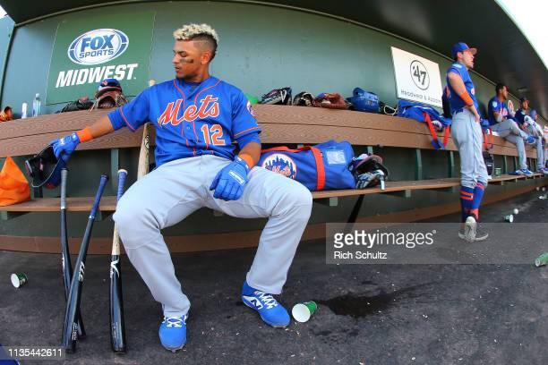 Juan Lagares of the New York Mets in action against the Miami Marlins during a spring training baseball game at Roger Dean Stadium on March 12 2019...